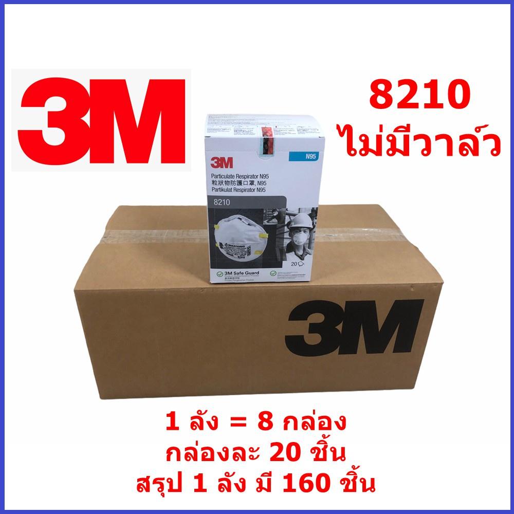 ♗┋■【สินค้าคงคลัง 】 หน้ากาก 3M N95 8210 แบบยกลัง (ไม่มีวาล์ว ลังละ 160 ชิ้น) และ 8210v (มีวาล์ว ลังละ 80 ชิ้น) แบบยกลัง ข