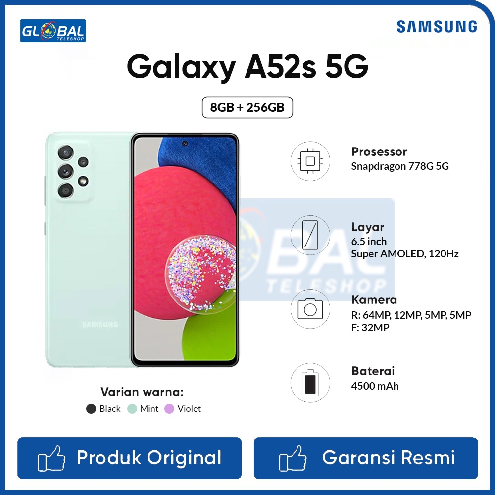 Samsung Galaxy A52S 5G Smartphone 8/256GB Garansi Resmi