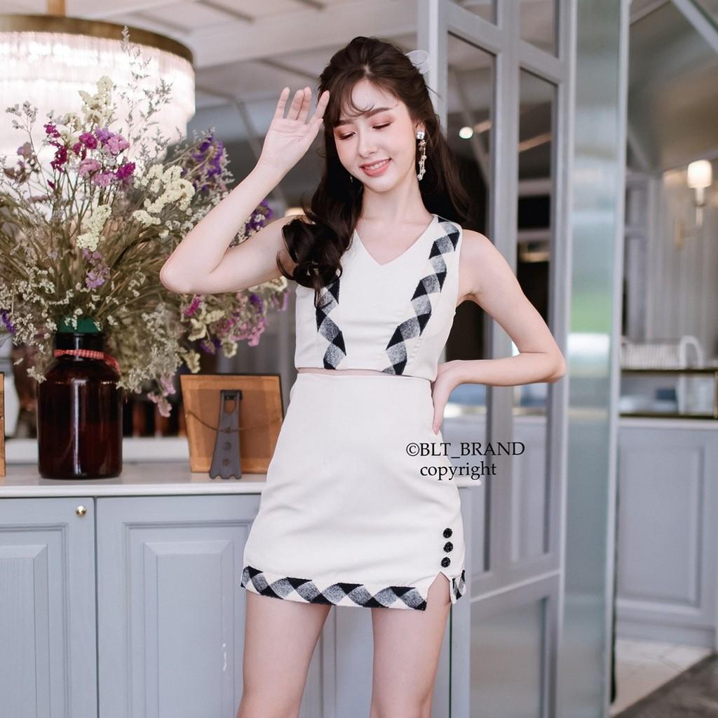 Sugar swizzle Mini Dress : BLT BRAND : ชุดเซทแขนกุด ชุดเซทขาว ชุดเซทน่ารัก