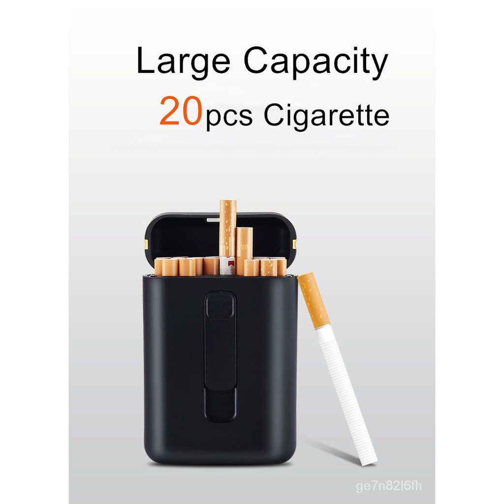 20cs Caacity Cigarette Case with USB Electronic Lighter Cigar Holder Cigarette Lighter for Regular Cigarette Gadgets For
