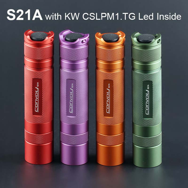 Flashlight Torch Convoy S21A with KW CSLPM1.TG LED Inside S2+ Plus 21700 Version Flash Light Camping Fishing Work Lanter