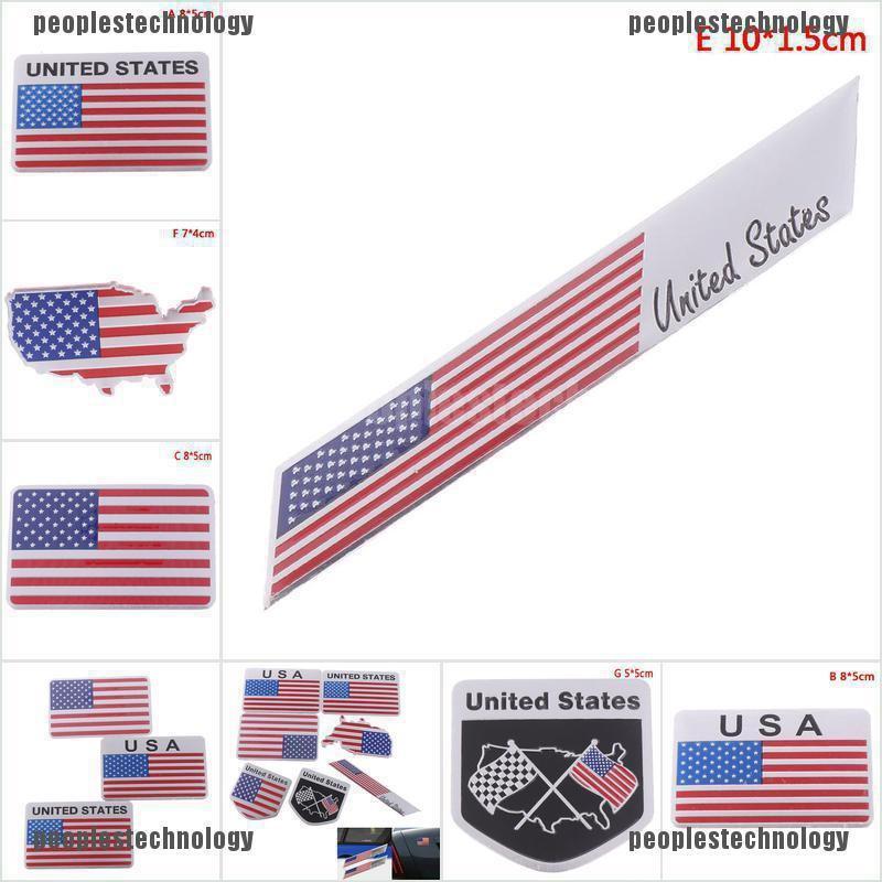 New 2Pcs Car Side Emblem Badge sticker Decal Accessories Logo American flag D5