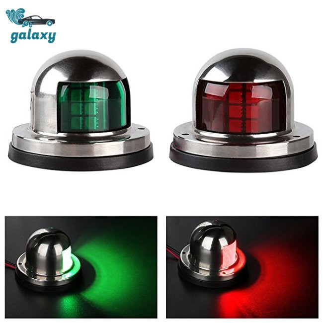 One Pair Marine Boat Yacht Pontoon 12V Stainless Steel LED Bow Navigation Lights