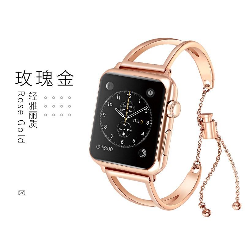บังคับแอปเปิ้ลแอปเปิ้ลดูนาฬิกา4/5/6สไตล์ผู้หญิงiwatch5/4/3/2/1สายapplewatchโลหะสแตนเลสกลวงiphone watch seriesห้าหกชั่วอา