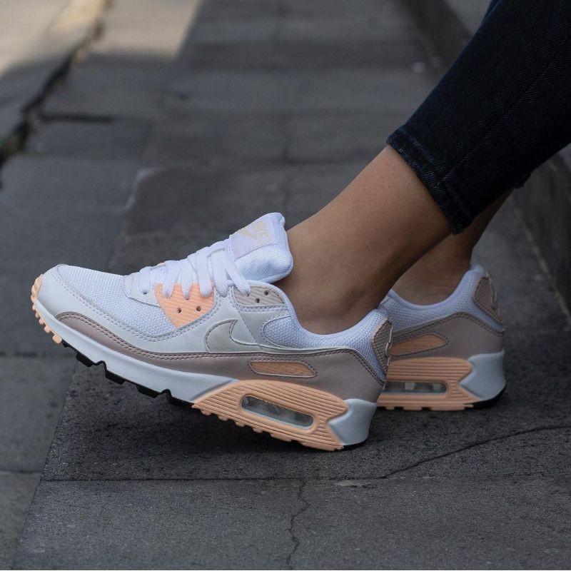 Nike Airmax 90 รองเท้าผ้าใบลําลองสีขาวลายกุหลาบ