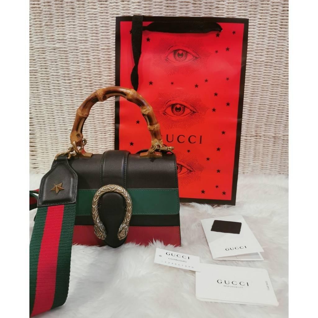 Gucci Dionysus หูหิ้วไม้ Bamboo ซิกเนเจอร์ของกุชชี่และหัวเสือสีทองสไตล์วินเทจ สภาพ 97% รุ่นนี้หายากมาก ไม่โหล