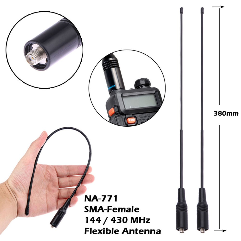NA-771 SMA-MALE 144//430 MHz dual band high gain soft antenna FOR handheld  RADIO