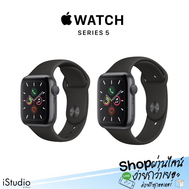 Apple Watch Series5 Space gray Aluminum Case with Black Sport Band