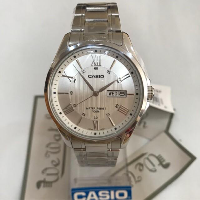ราคาเซอร์ไพรส์✗﹍CASIO ของแท้ รุ่น MTP-1384D นาฬิกาข้อมือผู้ชาย สายสแตนเลส รับประกัน 1 ปี MTP1384D, MTP1384