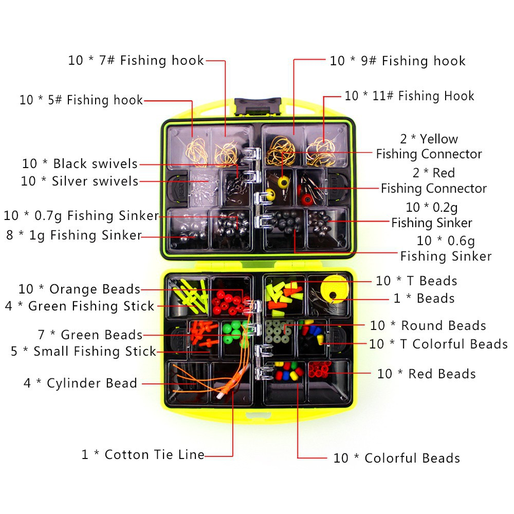 Carp Fishing Accessories Terminal Tackle Box Weights//Beads//Hooks//Swivels//Sinker