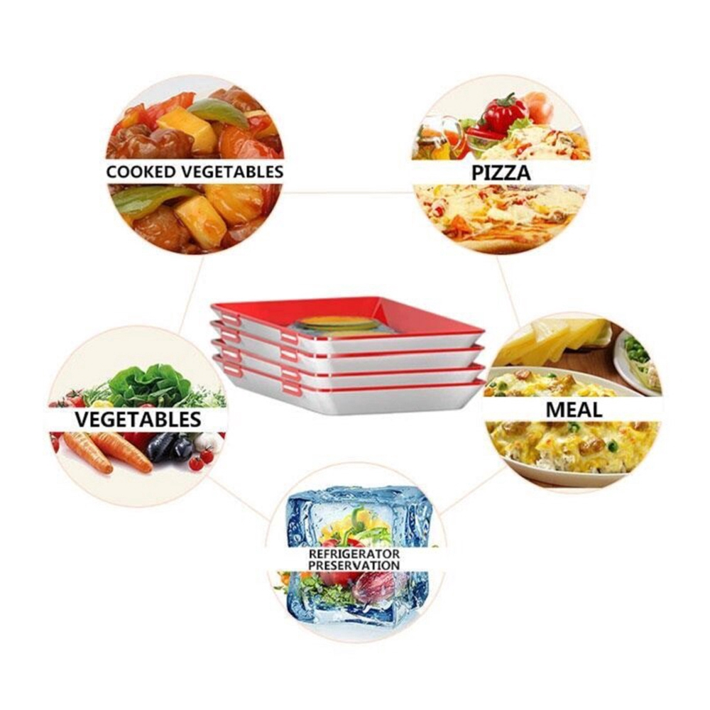 4pcs Healthy Creative Food Preservation Tray Storage Container Set Kitchen Tools