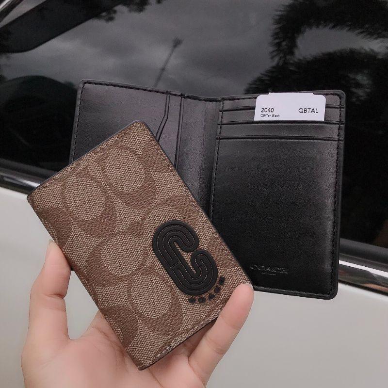 🎀 ส่งฟรี กระเป๋าสตางค์  ใบสั้น 2 พับ สีน้ำตาลลายซี COACH #2040 COACH CARD WALLET IN SIGNATURE CANVAS WITH COACH PATCH