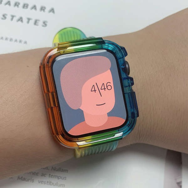 สาย applewatch Creative Da iwatch strap glacier limited transparent 6SE apple watch applewatch strap 5/6 generation 3/4/