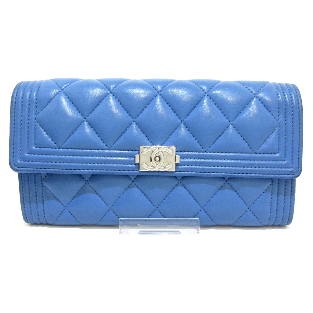 สินค้ามือสอง CHANEL Long Wallet BOY CHANEL blue