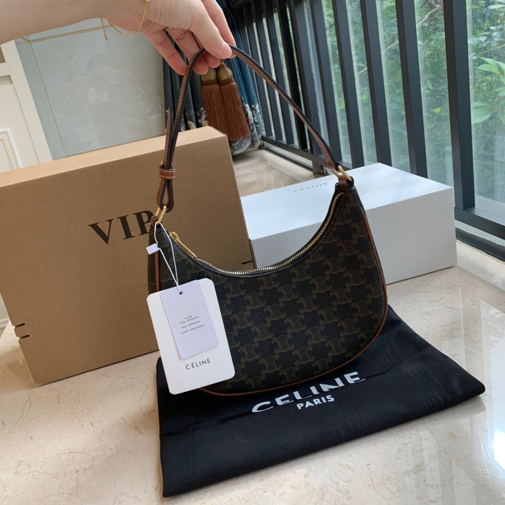 【Vip Gift !!】Celine Lady's Counter Vip AVA Triomphe Canvas with Cow leather Shoulder Bag