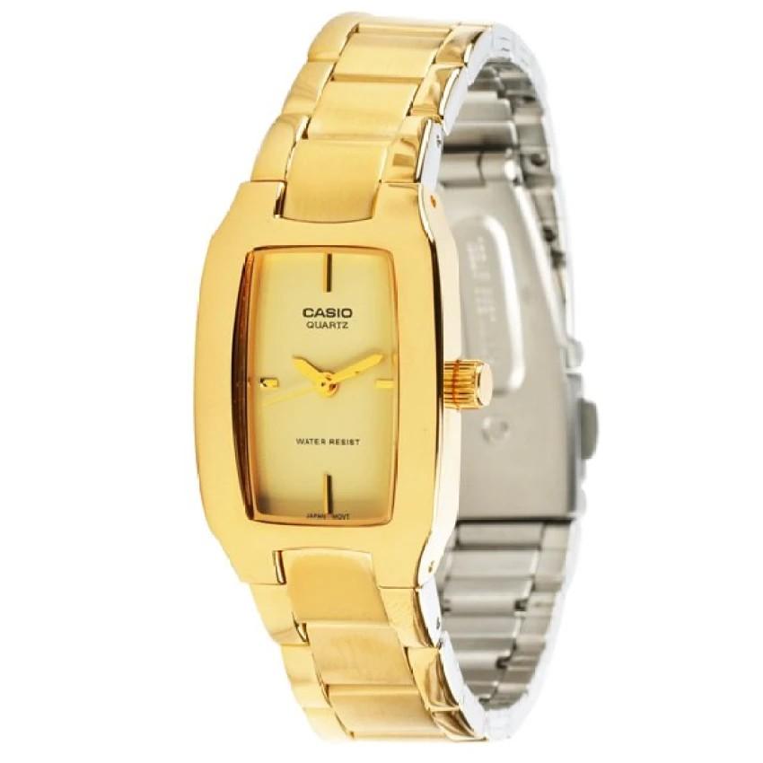 Casio นาฬิกาข้อมือผู้หญิง สายสแตนเลส สีทอง รุ่น LTP-1165N-9C ( Gold )