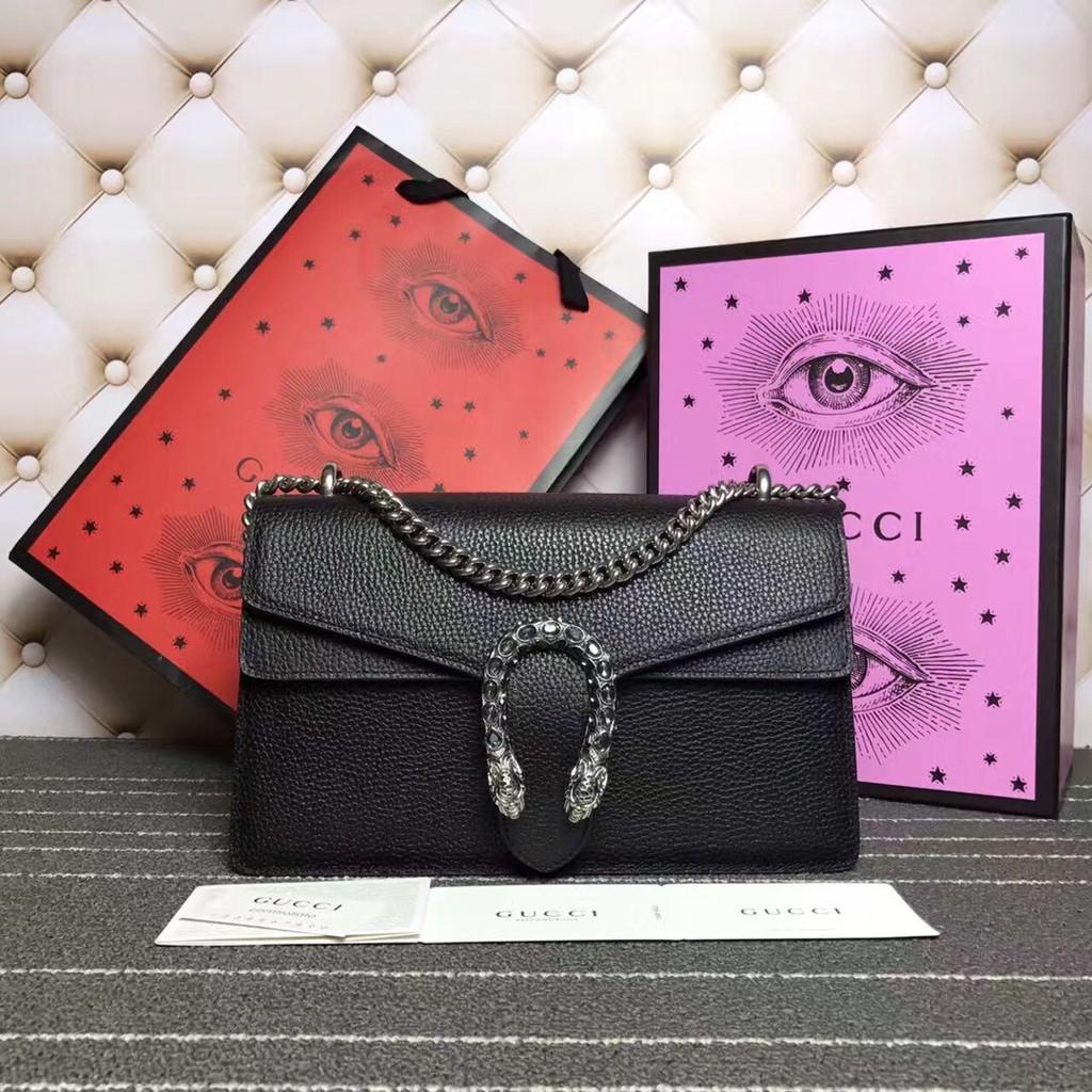 กระเป๋าสะพาย=ของแท้ 100% Gucci Dionysus Cowhide สีดำคลาสสิกกระเป๋าสะพายโซ่โลหะที่นิยมมาก