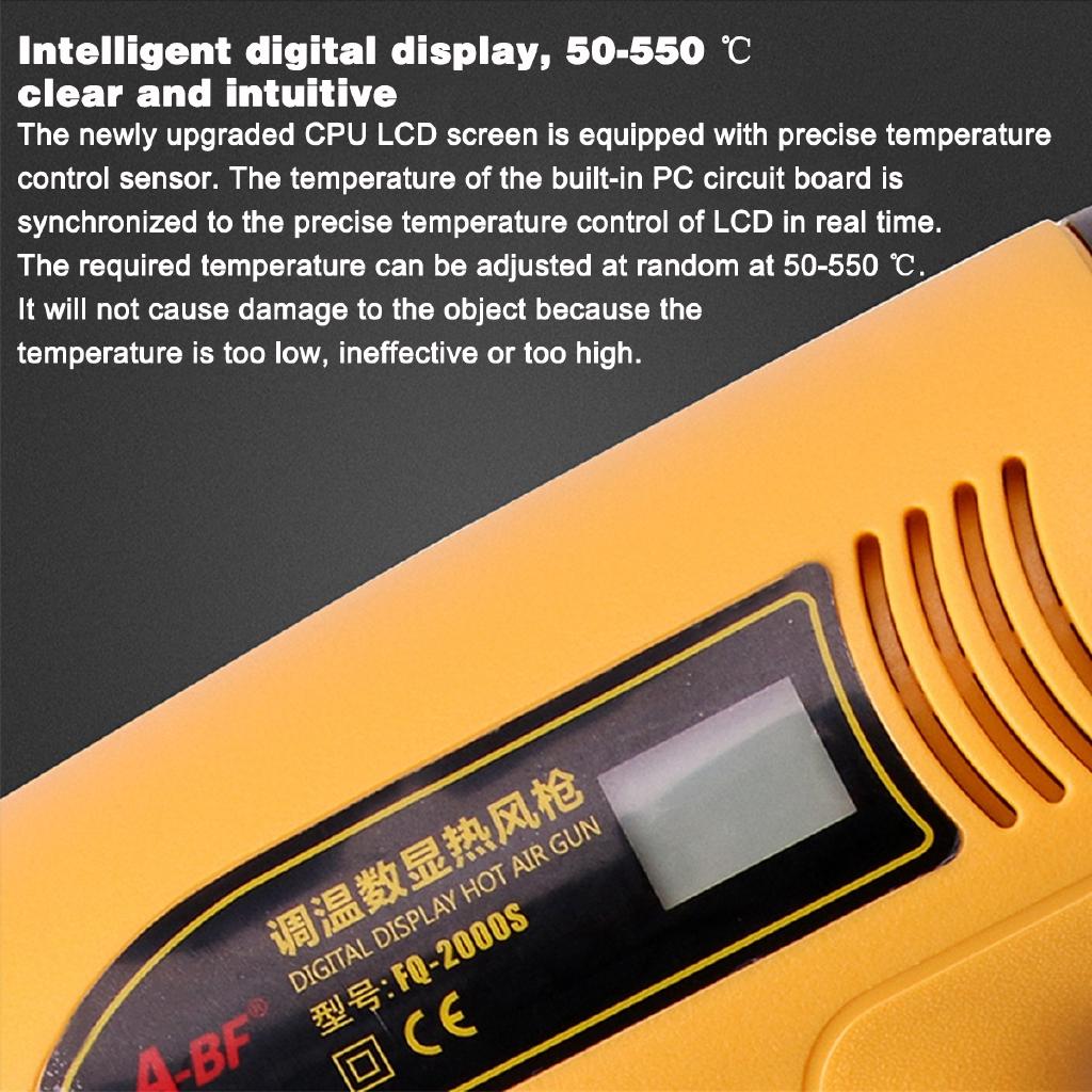 1800W Hot Air Heat G*n Dual Temperature Paint Stripper DIY Tool + Nozzle