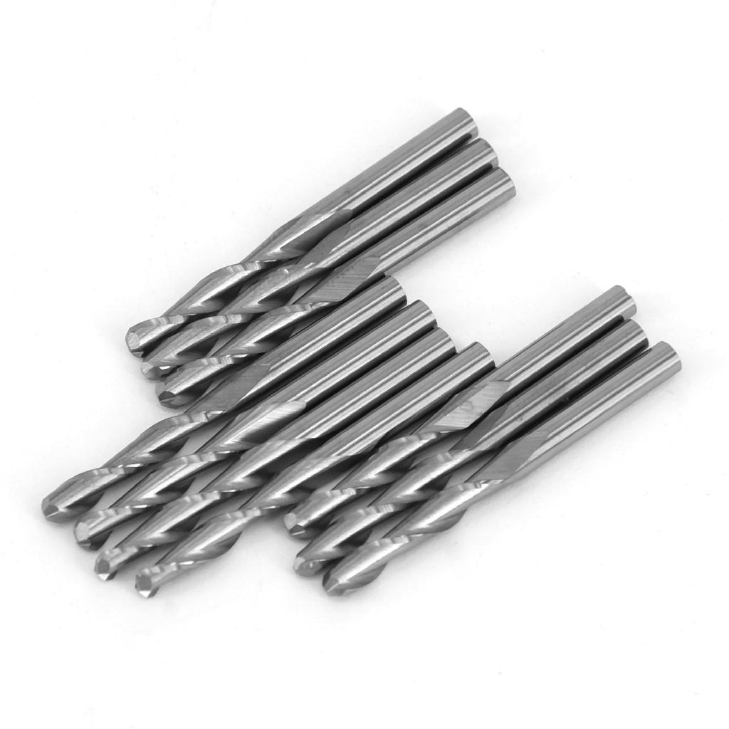 2x 1//8 Shank Single Flute Spiral Router Bit Carbide CNC End Mill Set Tools Kit