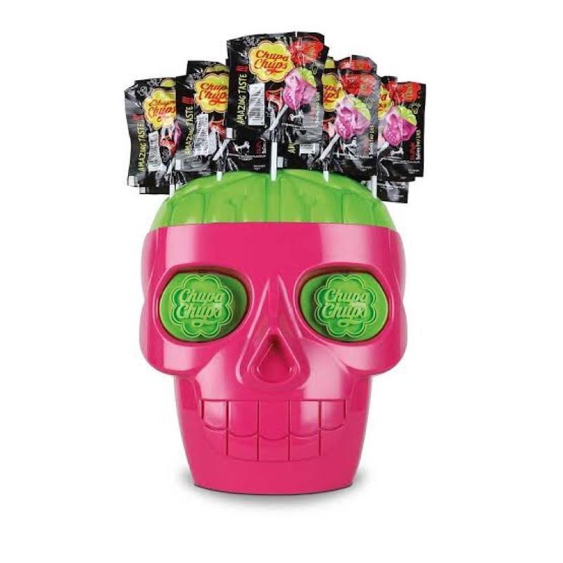 Chupa Chups 3D Skull หัวกะโหลกใหญ่ จูปาจุ๊ปส์ พร้อมลูกอม 50 ชิ้น / ChupaChups หัวกระโหลก จูปาจุ๊บ สีชมพูเขียว