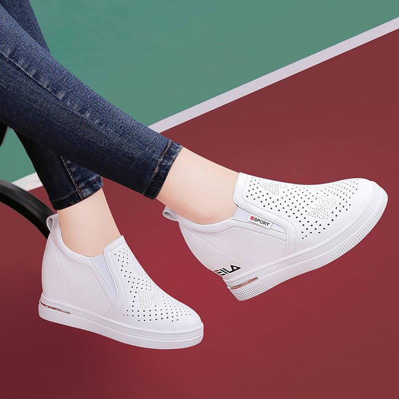รองเท้าผู้หญิง รองเท้าคัชชู ❀Lekkinton ฤดูร้อนใหม่กลวงระบายอากาศเพิ่มแบนใน LO Fu รองเท้าเด็กรองเท้าสีขาวขนาดเล็กรองเท้าผ