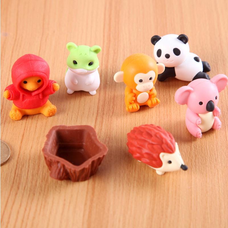 อุปกรณ์เครื่องเขียนและหนังสือ❆นำเข้า IWAKO Iwasawa ERASER การ์ตูนสัตว์ที่ถอดออกได้ของเล่นโมเดลจำลองยางตกแต่งสนุก