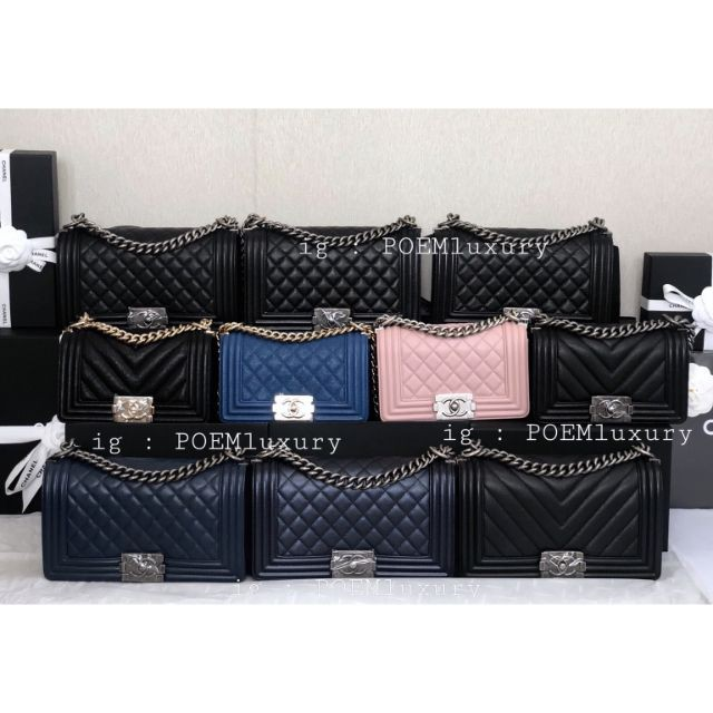 แท้】Chanel Boy10 / 8 Caviar / Lamb RHW / GHW Full set Price : 169999฿