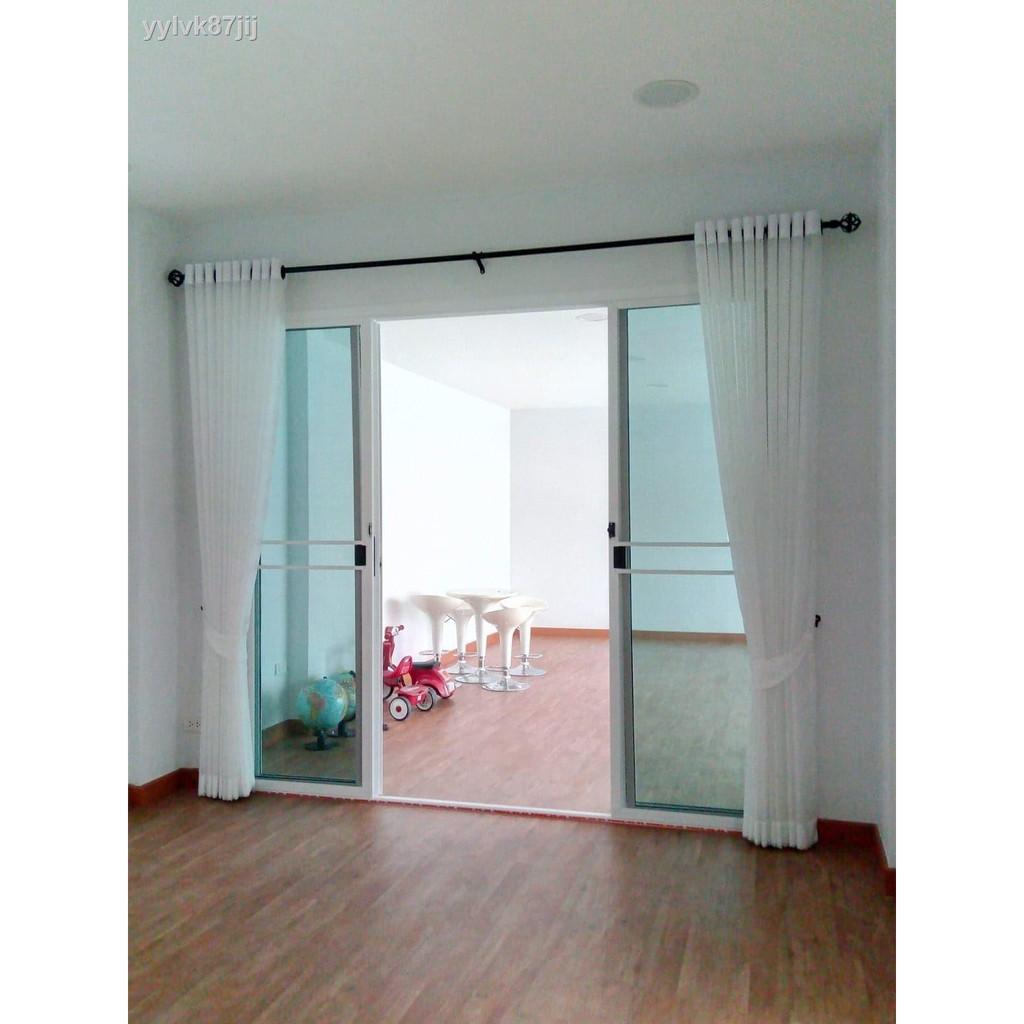 ผ้าม่านประตู❣ผ้าม่านโปร่งสำเร็จรูปหน้าต่าง ประตู แบบตาไก่เจาะห่วง สีขาว ขนาด130*150,130*220,130*250,200*220,200*250 ติด