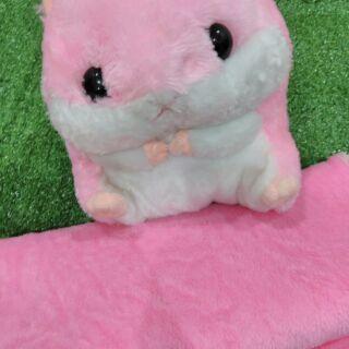 (เก็บเงินปลายทาง)ตุ๊กตาผ้าห่มนาโนกระรอกสีชมพู36x78นิ้ว