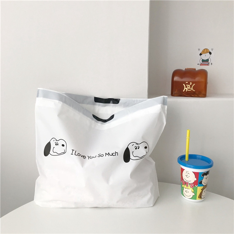 กระเป๋าช้อปปิ้ง แบบผูกเชือก พิมพ์ลายสุนัข สไตล์ญี่ปุ่นน่ารัก สําหรับผู้หญิง
