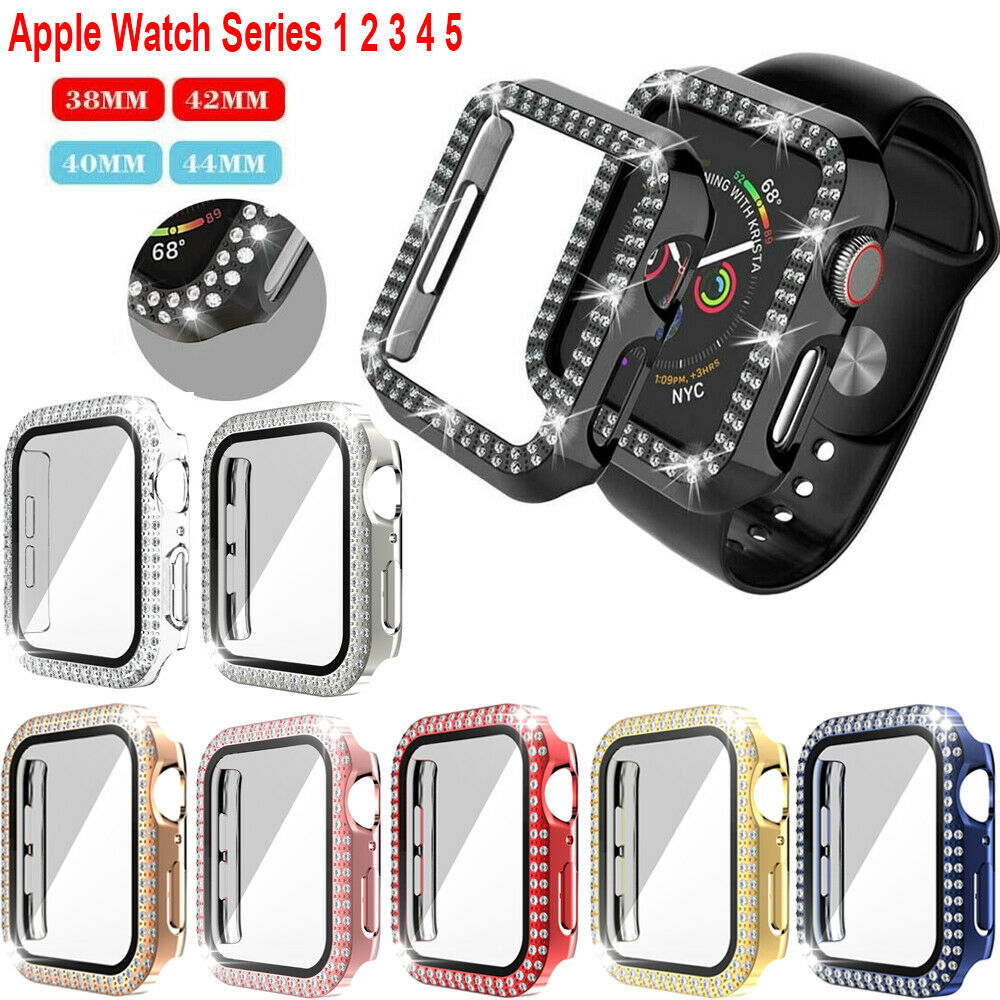 For Apple Watch iWatch 6 5 4 40/44mm Face Case Cover 40mm/44mm Bling Crystal Rhinestone Hard Cover