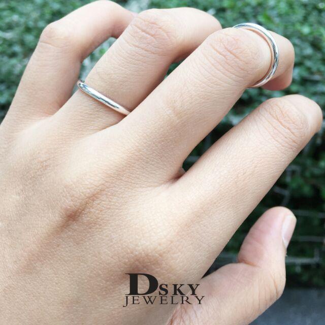 แหวนเงินแท้925 แหวนเงินเกลี้ยง หนา2มิล แหวนแฟชั่น ราคาถูก สไตล์มินิมอลMinimal ชุบทองคำขาว