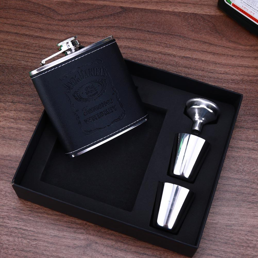 2 Cups Funnel Set Gift Box 8oz Hip Flask Liquor Alcohol Bottle Stainless Steel