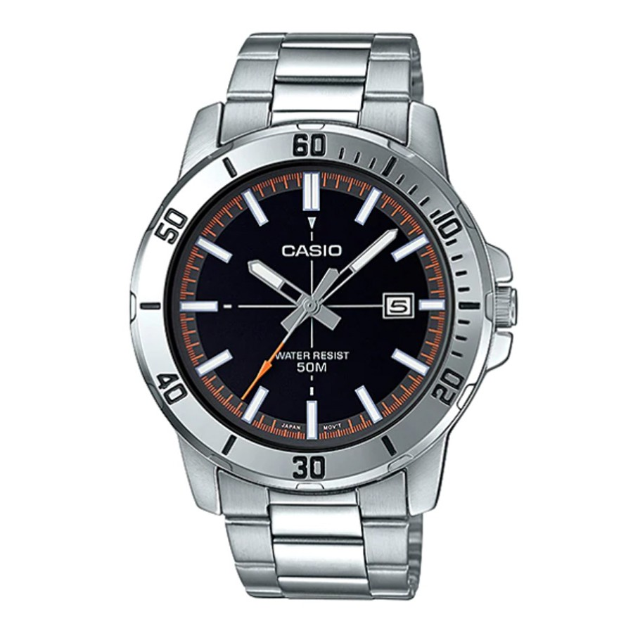 Casio Standard นาฬิกาข้อมือผู้ชาย สายสแตนเลส รุ่น MTP-VD01,MTP-VD01D,MTP-VD01D-1E2,MTP-VD01D-1E2VUDF - สีเงิน