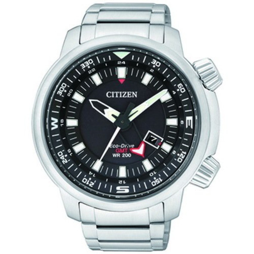CITIZEN ECO DRIVE PROMASTER SLIDE RULER DUAL TIME 200m GMTนาฬิกาข้อมือผู้ชาย สีเงิน สายสเตนเลส รุ่น BJ7080-53E
