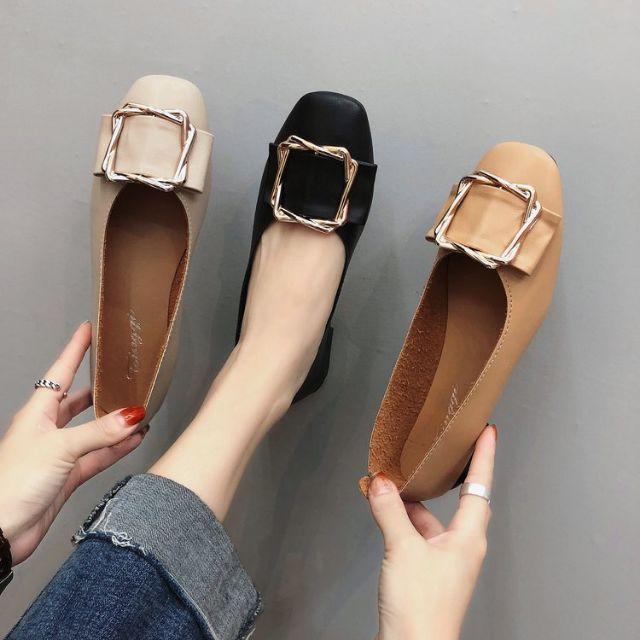 รองเท้าคัชชูผู้หญิง รองเท้าคัชชูสีดำ รองเท้าผู้หญิง รองเท้าคัชชู รองเท้าหุ้มส้น แฟชั่นส้นแบน ส้นเตี้ย รองเท้าแฟชั่น