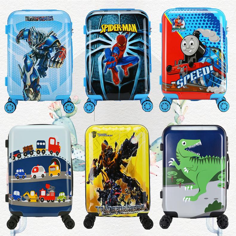 ォ♪การ์ตูนเด็กรถเข็นกระเป๋าเดินทางกระเป๋าเดินทาง 18 นิ้ว 20 นิ้วเด็กกระเป๋าเดินทาง Spiderman สามารถนั่งเด็กกระเป๋าเดินทาง