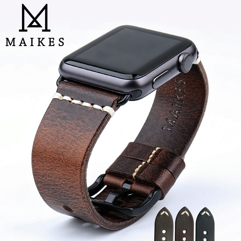 MAIKES Leather Strap Belt For Apple Watch Band 44mm 40mm 42mm 38mm Series 6 5 4 3 2 1 iWatch Vintage Oil Wax Leather Wat