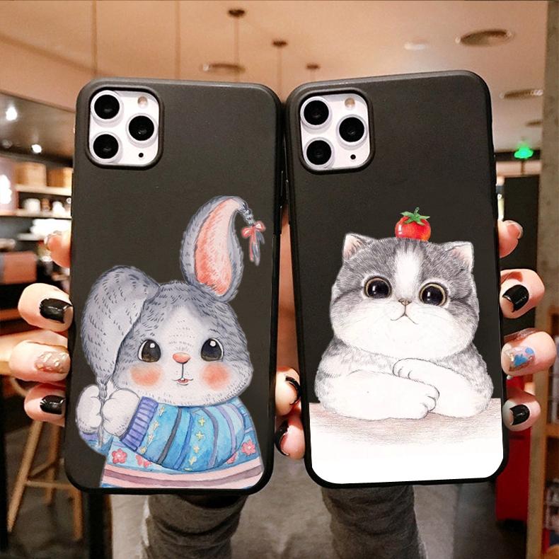 Cute rabbit cat black Soft Case Samsung J8 2018 J6 2018 J6Plus/J6+ J4 2018 J4Plus/J4+ J2PRO 2018 J7Plus J7Pro/J7 2017 J5Pro/J5 2017 J3Pro/J3 2017 J7Prime J5prime J2prime J710/J7 2016 A71 Note9 Note10 Note8 Note10Plus A51