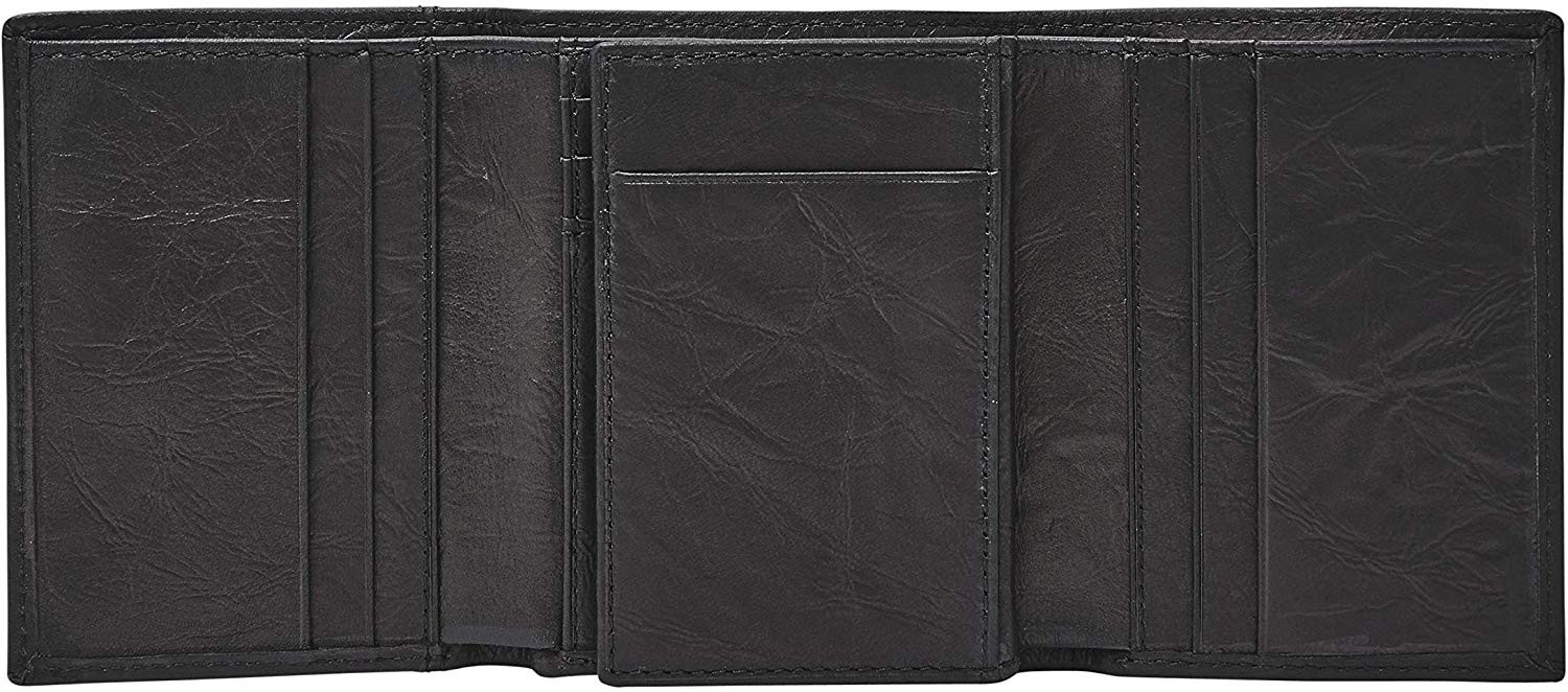 Fossil Men's Leather Trifold Wallet Black