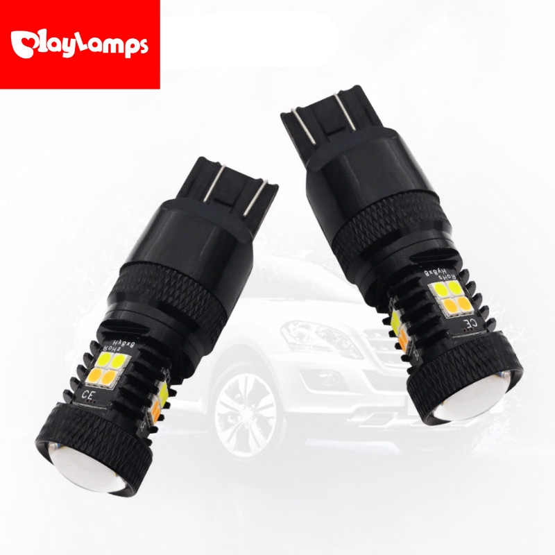 1 Pair Dual Color 12V 3157 LED 5730 22SMD Car Turn Signal Light Yellow White New