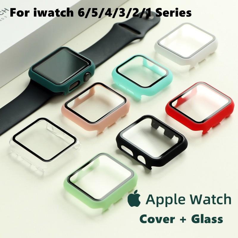 [เคส PC + กระจกนิรภัย] Apple Watch case 6 SE 5 4 3 2 1 case ฟิล์มกันรอย iwatch case 42mm 38m 40mm 44mm