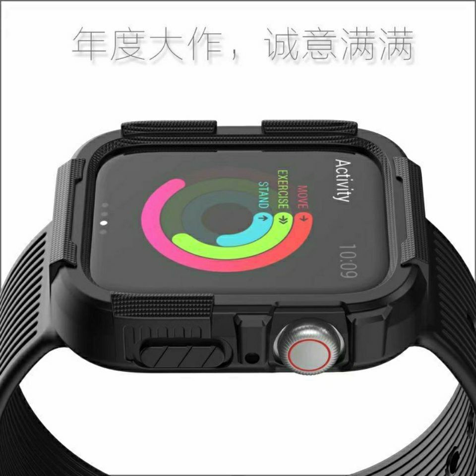 สาย applewatch Suitable for Apple Watch Silicone Strap Case Apple Watch123456 se