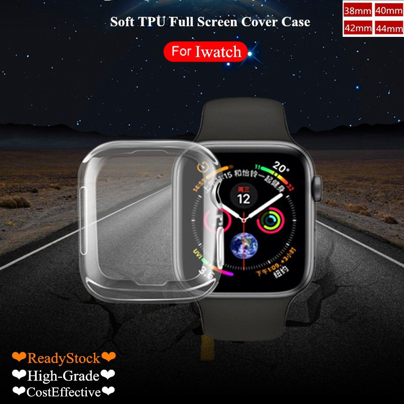 Casing Apple Watch 5/4/3/2/1 Iwatch Soft TPU Clear Full Screen Cove Protector Case for 38mm 42mm 40mm 44mm