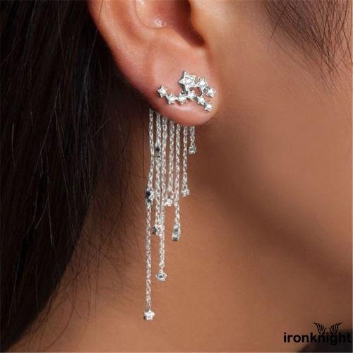 Review R1N-New Women Gold Silver Plated Crystal Flower Drop Long Dangle Chain Earrings