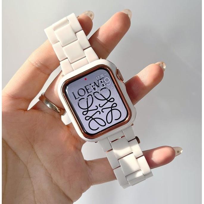 สาย Apple Watch + เคส Resin iwatch สายนาฬิกา Apple Watch series 6 5 4 3 2 1 Apple Watch SE Strap Wrist band size 38mm 40mm 42mm 44mm Replacement watch band Apple Watch Strap