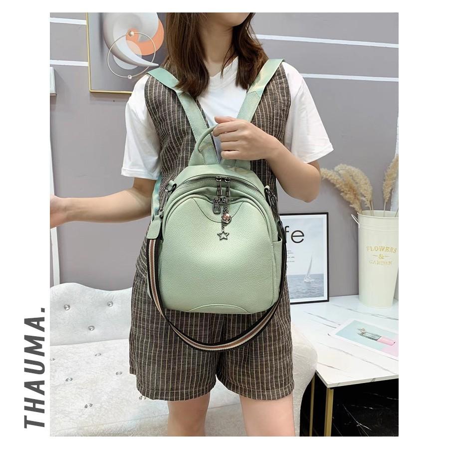 กระเป๋าเป้ผู้หญิงหนังวัวชั้นบนสุด 2021 เทรนด์แฟชั่นเกาหลีใหม่ทุกการเดินทางกระเป๋าเป้ใบเล็กไหล่เดียว