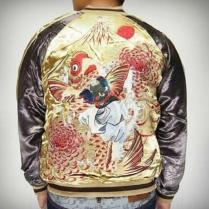 SUKAJAN แบรนด์แท้ญี่ปุ่น Japanese Souvenir Jacket แจ็คเกตซูกาจันลาย Koi Fuji