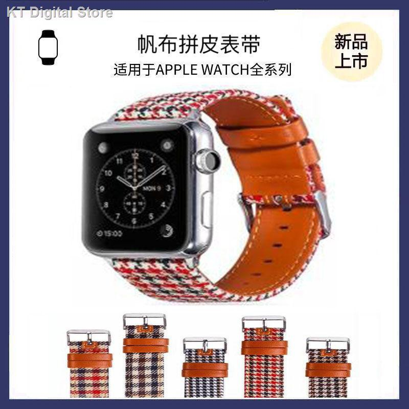 【อุปกรณ์เสริมของ applewatch】◙สายรัด iwatch ที่ใช้งานได้ ApplewatchS6 / 5/4/3 รุ่น SE ผ้าใบ houndstooth พร้อมหนังสาย A
