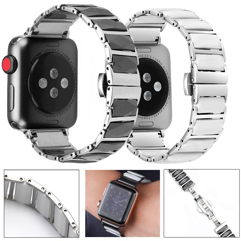 สายนาฬิกาข้อมือเซรามิกสําหรับ Apple Watch Band 6 5 4 42 มม . 38 มม . สําหรับ Iwatch Series 6 5 40mm 44 มม . BYIV